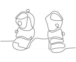 continuous line drawing of snow skates vector illustration