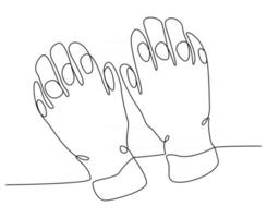 continuous line drawing of snowboarding equipment glove vector illustration