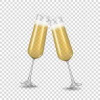 Realistic 3D champagne Golden Glass Icon isolated on transparent background. Vector Illustration EPS10