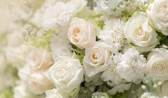 Mixed wedding white roses flower,  Floral background photo