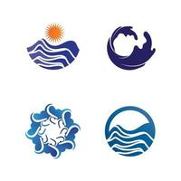 Water drop and wave icon Logo and design set for Template vector