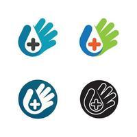 El logotipo y el icono de la botella de desinfectante de manos establecen una nueva normalidad aislada sobre fondo blanco, el concepto de desinfección, la botella de alcohol de gel de lavado para la ilustración de vector de higiene