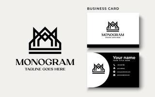 monogram crown vector logo in a modern line style