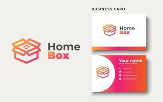 Box with roof house logo design. Orange Gradient color. can be used for Real Estate, Etc. vector