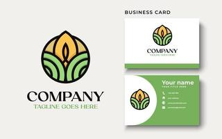 Organic logo. Farmer products emblem. Leaves and sun in a circle. vector