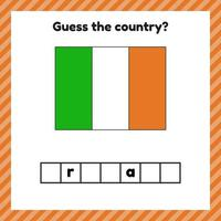 Worksheet on geography for preschool and school kids. Crossword. Ireland flag. Cuess the country. vector