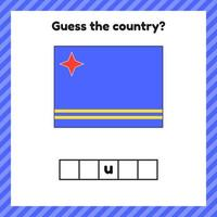 Worksheet on geography for preschool and school kids. Crossword. Aruba flag. Cuess the country. vector