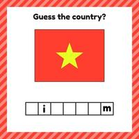 Worksheet on geography for preschool and school kids. Crossword. Vietnam flag. Cuess the country. vector