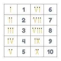 vector illustration. matches. roman numerals. mathematics. infographics.