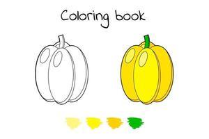 Vector illustration. Game for children. Vegetable. Coloring page paprika