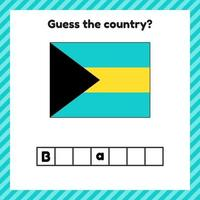 Worksheet on geography for preschool and school kids. Crossword. Bahamas flag. Cuess the country. vector