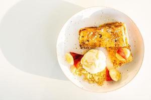Sweet dessert french toast and ice cream photo
