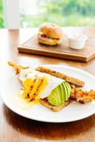 Sandwich with avocado bacon and asparagus photo