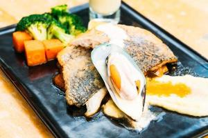 Sea bass and mussel steak photo