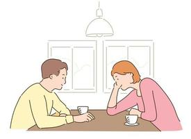 A couple is sitting facing each other and smiling. hand drawn style vector design illustrations.