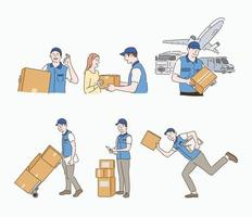 A delivery man is carrying a parcel and delivering it. hand drawn style vector design illustrations.