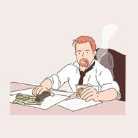 The criminal sits smoking a cigarette and holding a whiskey in one hand and a gun in the other. There is money on the desk. hand drawn style vector design illustrations.
