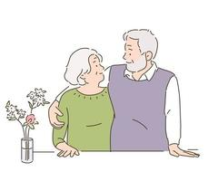 An elderly couple is looking at each other and smiling. hand drawn style vector design illustrations.