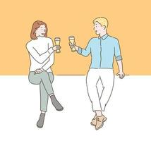 Two people are toasting while holding beer glasses in their hands. hand drawn style vector design illustrations.