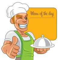 Cartoon mascot chef with happy smiling holding dish with menu board vector