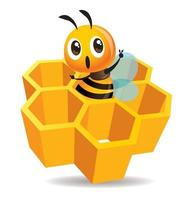 Cartoon cute bee stay inside the honey cell vector