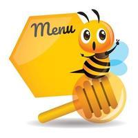 Cartoon cute bee sitting on the honey dipper with big menu board vector
