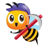 Cartoon cute worker bee wearing purple safety cap and holding a hoe tool vector