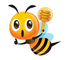 Cute bee holding a honey dipper with thumb up hand sign vector