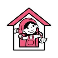 Cartoon character cleaner holds dust brushes and house background vector