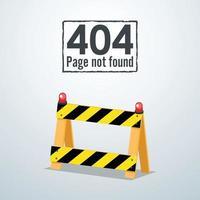 404 Pagina no encontrada. concepto de barrera vial. ilustración vectorial vector
