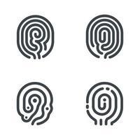 Set of fingerprint icons. Vector illustration