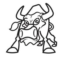 Colouring book template of bull in outline vector