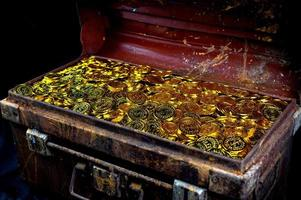 Stacking Gold Coin in treasure chest photo