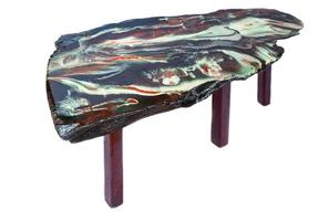 handmade wooden table with top coat epoxy resin photo
