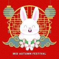 Mid Autumn Festival Rabbit Smile vector