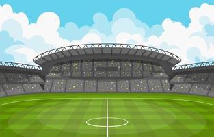 estadio de fútbol con seguidores. vector