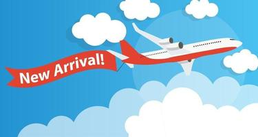New Arrival Template Background with Airplane. Vector Illustration