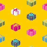 Abstract Gift Box with Bow and Ribbon Seamless Pattern Background. Vector Illustrration