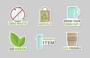 Zero Waste Sticker Collection vector