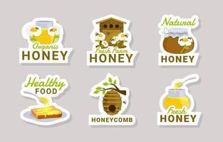 Honey Bee Sticker Collection vector