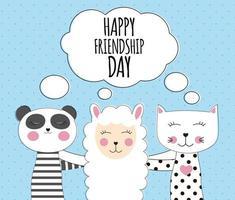 Little cute llama, panda and cat. Best Friend Concept. Happy friendship day. Vector Illustration