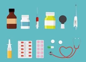 Colorful set of Health Medical Background. Vector Illustration