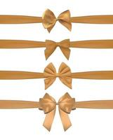 Collection Set of golden bows with horizontal  ribbon isolated on white background. Vector illustration