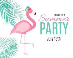 Abstract Summer Party Background with Palm Leaves and Flamingo. Vector Illustration
