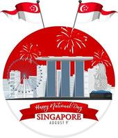 Singapore National Day with Marina Bay Sands Singapore and fireworks vector