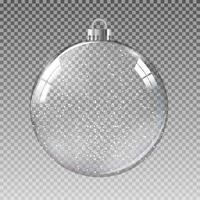 Glass Transparent Christmas Ball with Snow. Vector Illustration