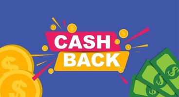 Money cashback poster with gold dollar coins. Vector illustration