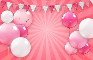 colored Balloons with Hearts Vector Illustration on pink
