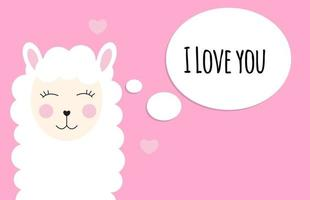Little cute llama with heart for card and shirt design. I Love you concept. Vector Illustration