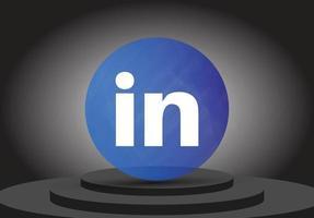 social media 3d linkedin render icon vector